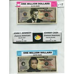 2 TOKENS MILLION DOLLARS (J.F. KENNEDY & JOHNNY CASH)