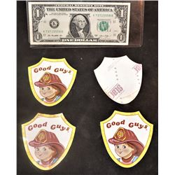 CHILD'S PLAY 2 GOOD GUYS FIREMAN STICKERS LOT OF 4