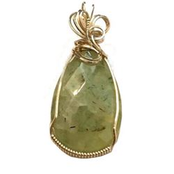 Artisan Created Prehnite Faceted Teardrop Sterling Silver Pendant