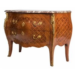 French Bombe Marble Top Chest