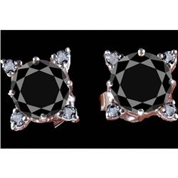 4.30ct Black Moissanite & Diamond Sterling Earrings