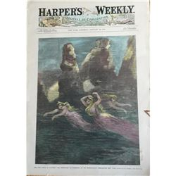 1889 Hand-colored Harpers Weekly, Mermaids