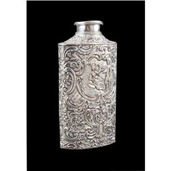 Antique Danish Repousse Silverplate Powder Flask
