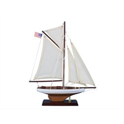 Wooden Columbia Model Sailboat Decoration 16""