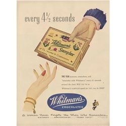 1950 Whitman's Sampler Chocolates Ad