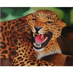 Signed Oil on Canvas Painting, African Leopard