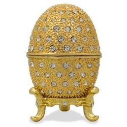 """Faberge Inspired 2.5"""" 200 Crystals Gold Enamel Faberge Inspired Russian Easter Egg"""