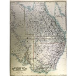 Map of South Australia & New South Wales, Victoria, and Queensland