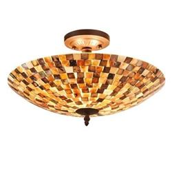"SHELLEY Mosaic 2 Light Semi-flush Ceiling Fixture 16"" Shade"