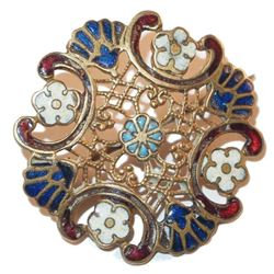 Antique Victorian Pierced Rose Gold Filled Floral Enamel Brooch Pin