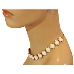 Lovely Chunky Vintage 60's Thermoset White Gold Tone Necklace