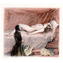 Nude Blonde Girl Divan Sofa Lyre Music Paul E. Becat Vintage Art Print ~matted