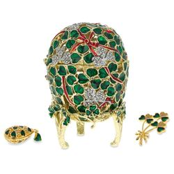 Faberge Inspired 1902 Clover Leaf Faberge Egg With Brooch And Pendant
