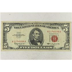 1963-$5 RED SEAL US NOTE