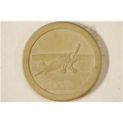 VINTAGE POKER CHIP BEIGE WITH EMBOSSED AIRPLANE