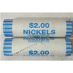 2-$2 ROLLS OF 2004-D JEFFERSON NICKELS BRILLIANT