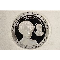 2003 LIBERIA $20 SILVER PROOF AMERICAS FIRST