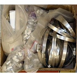 BOX OF ASSORTED ELECTRICAL CLAMPS AND HOSE CLAMPS
