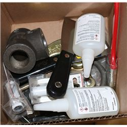 BOX OF MISC ITEMS, INCLUDES: LOTTITE 404, C-CLAMP