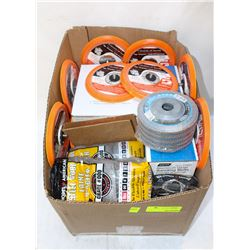 BOX OF ASSORTED ABRASIVE BELTS AND FINISHING PADS&