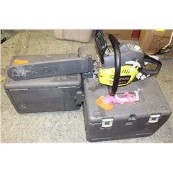 """GROUP OF 3 RYOBI 14"""" GAS CHAINSAWS W/ CASES"""