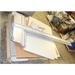 PALLET OF PEGBOARD SHELVING NEEDS ASSEMBLY
