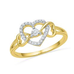 0.11 CTW Diamond Triple Heart Solitaire Ring 10KT Yellow Gold - REF-13X4Y