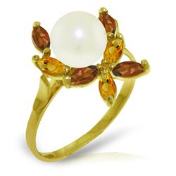 Genuine 2.63 ctw Pearl & Citrine Ring Jewelry 14KT Yellow Gold - REF-28Z5N