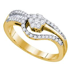 0.48 CTW Diamond Flower Cluster Bridal Engagement Ring 10KT Yellow Gold - REF-49N5F