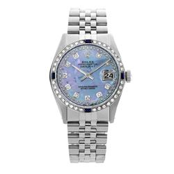 Rolex Pre-owned 36mm Mens String Blue MOP Stainless Steel - REF-580K3X