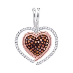 0.25 CTW Red Color Diamond Heart Love Pendant 10KT Two-tone Gold - REF-22H4M