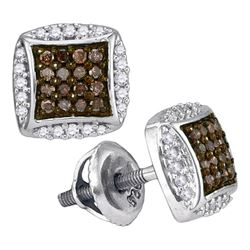 0.30 CTW Cognac-brown Color Diamond Square Cluster Earrings 10KT White Gold - REF-18N2F
