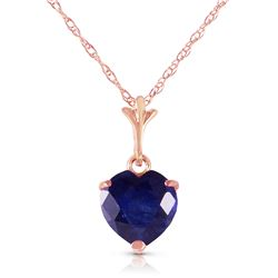 Genuine 1.55 ctw Sapphire Necklace Jewelry 14KT Rose Gold - REF-20A9K