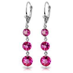 Genuine 7.2 ctw Pink Topaz Earrings Jewelry 14KT White Gold - REF-44T7A
