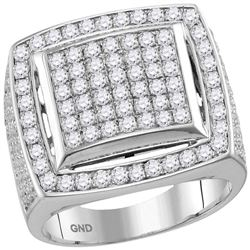 3.1 CTW Mens Prong-set Diamond Square Cluster Ring 10KT White Gold - REF-224M9H