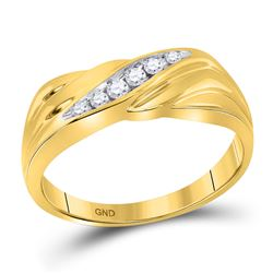 0.14 CTW Mens Diamond Single Row Wedding Ring 10KT Yellow Gold - REF-26X9Y