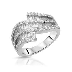 1.09 CTW Diamond Ring 18K White Gold - REF-128X5R