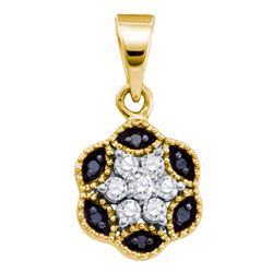 0.22 CTW Black Color Diamond Hexagon Cluster Pendant 14KT Yellow Gold - REF-14Y9X