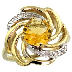 Natural 2.25 ctw citrine & Diamond Engagement Ring 14K Yellow Gold - REF-57N8G