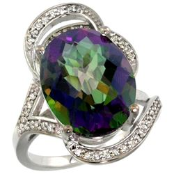 Natural 11.23 ctw mystic-topaz & Diamond Engagement Ring 14K White Gold - REF-104H5W