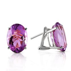Genuine 15.1 ctw Amethyst Earrings Jewelry 14KT White Gold - REF-59V6W