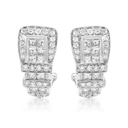 1.43 CTW Diamond Earrings 18K White Gold - REF-178W4H