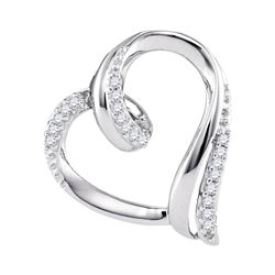 0.10 CTW Diamond Heart Outline Pendant 10KT White Gold - REF-13X4Y