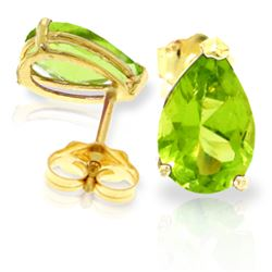 Genuine 3 ctw Peridot Earrings Jewelry 14KT Yellow Gold - REF-20K9V