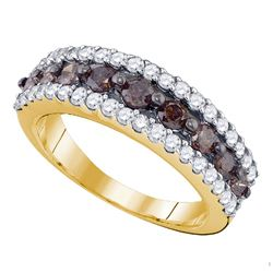 1.5 CTW Cognac-brown Color Diamond Ring 10KT Yellow Gold - REF-64X4Y