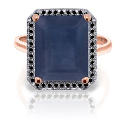 Genuine 6.6 ctw Sapphire & Black Diamond Ring Jewelry 14KT Rose Gold - REF-111T7A