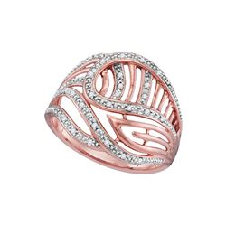 0.10 CTW Diamond Open-work Cocktail Ring 10KT Rose Gold - REF-19H4M