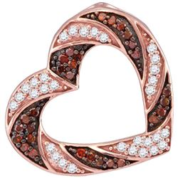 0.50 CTW Red Color Diamond Heart Outline Pendant 10KT Rose Gold - REF-25W4K