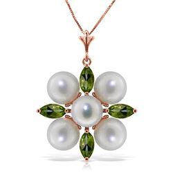 Genuine 6.3 ctw Peridot & Pearl Necklace Jewelry 14KT Rose Gold - REF-59Y2F