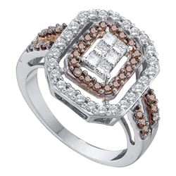 0.75 CTW Cognac-brown Color Diamond Rectangle Cluster Ring 14KT White Gold - REF-89M9H